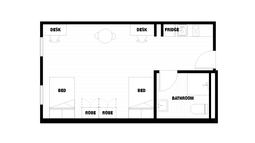 Peel Street Floor Plan for Twin Share Apartment